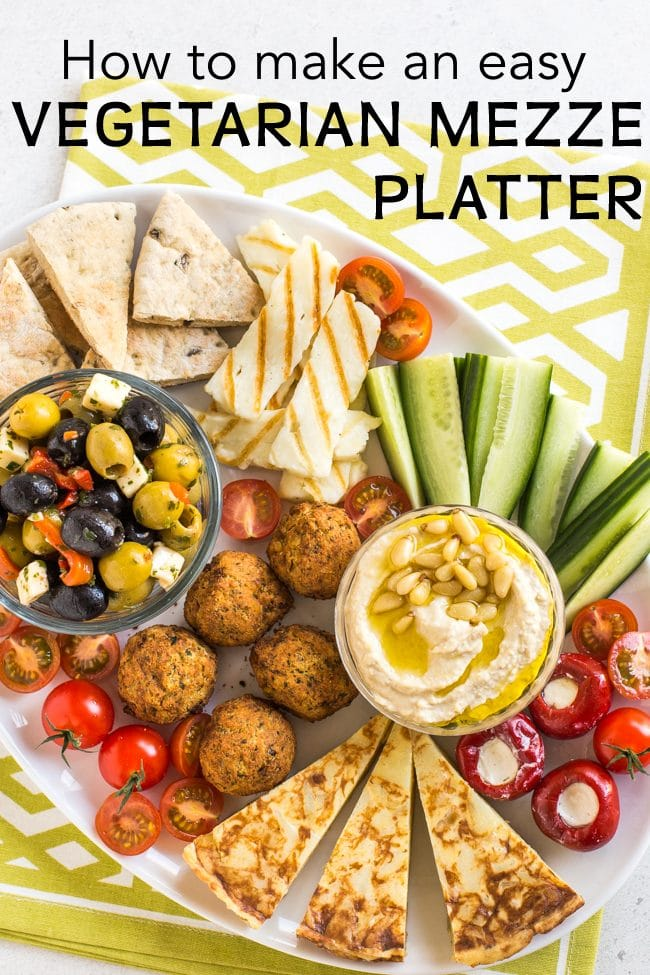 Vegetarian mezze platter shot from above with caption