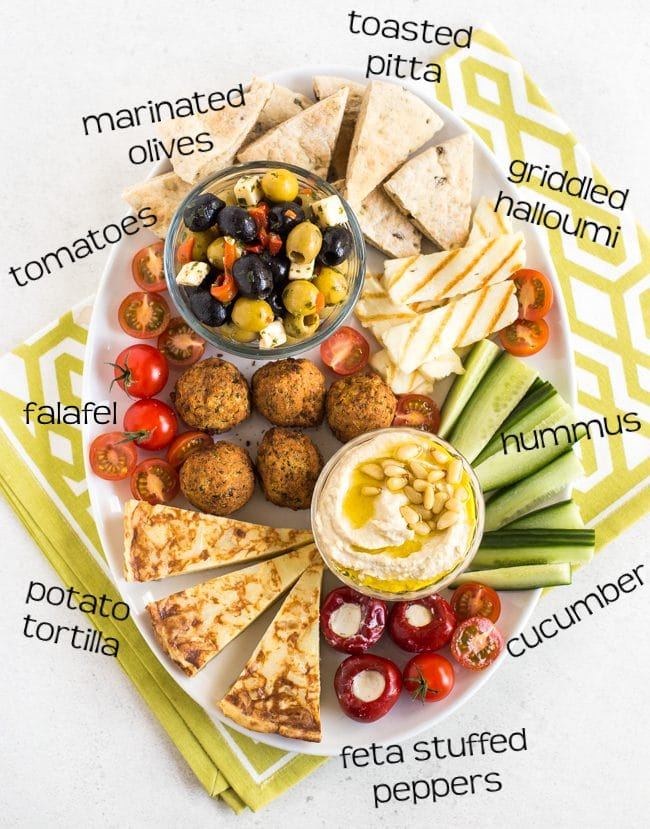 Vegetarian mezze platter with labels