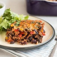 One pot vegetarian chilli and rice bake
