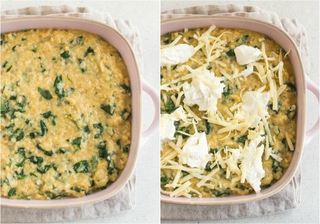 Collage of unbaked lentil slice before and after topping with ricotta cheese