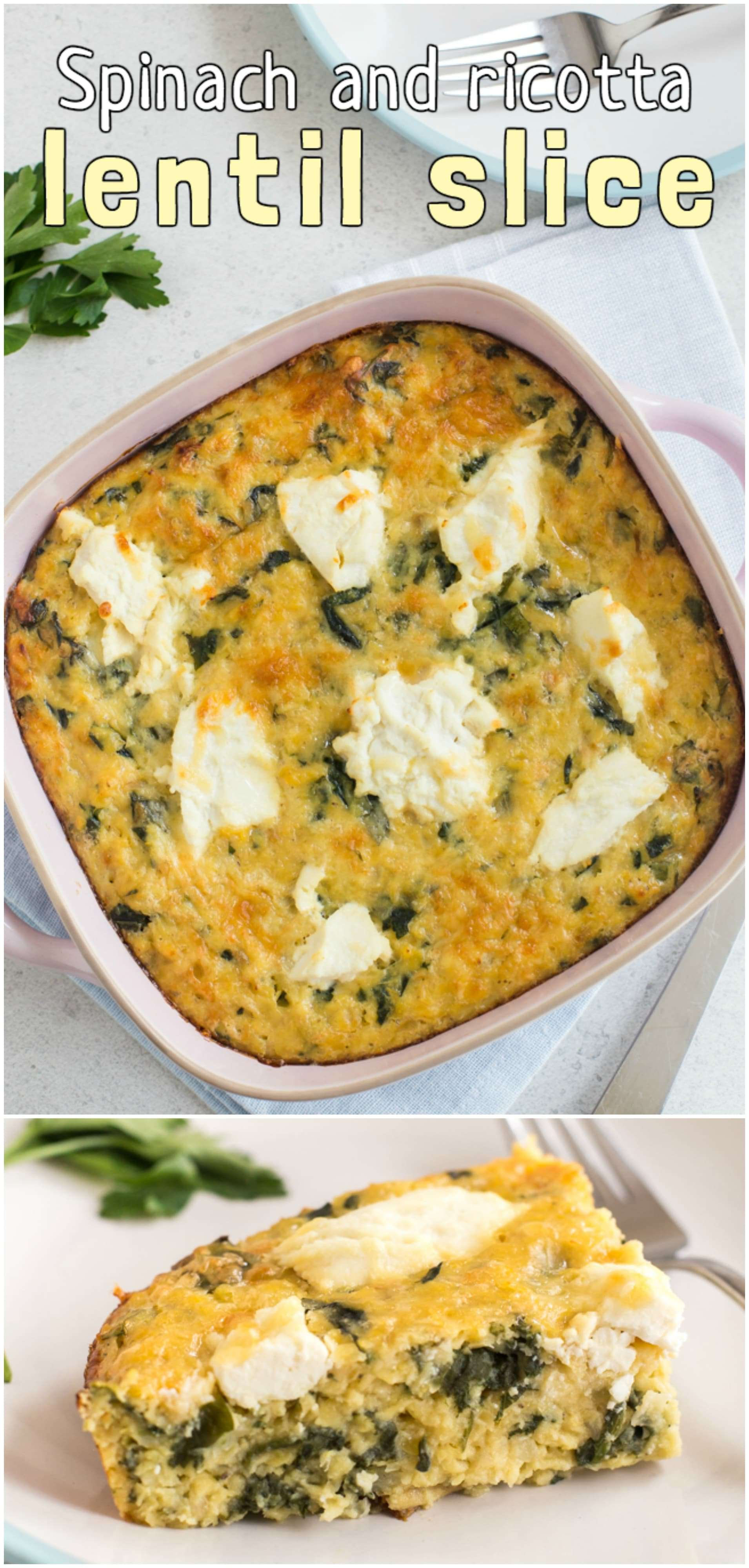 Spinach and ricotta lentil slice - perfect served hot for dinner or cold in lunch boxes! A fluffy yet hearty cheesy lentil slice with garlicky spinach, topped with pockets of creamy ricotta! Heaven. #lentilbake #lentilslice #vegetariandinner #healthyvegetarian #spinachricotta #vegetariancasserole