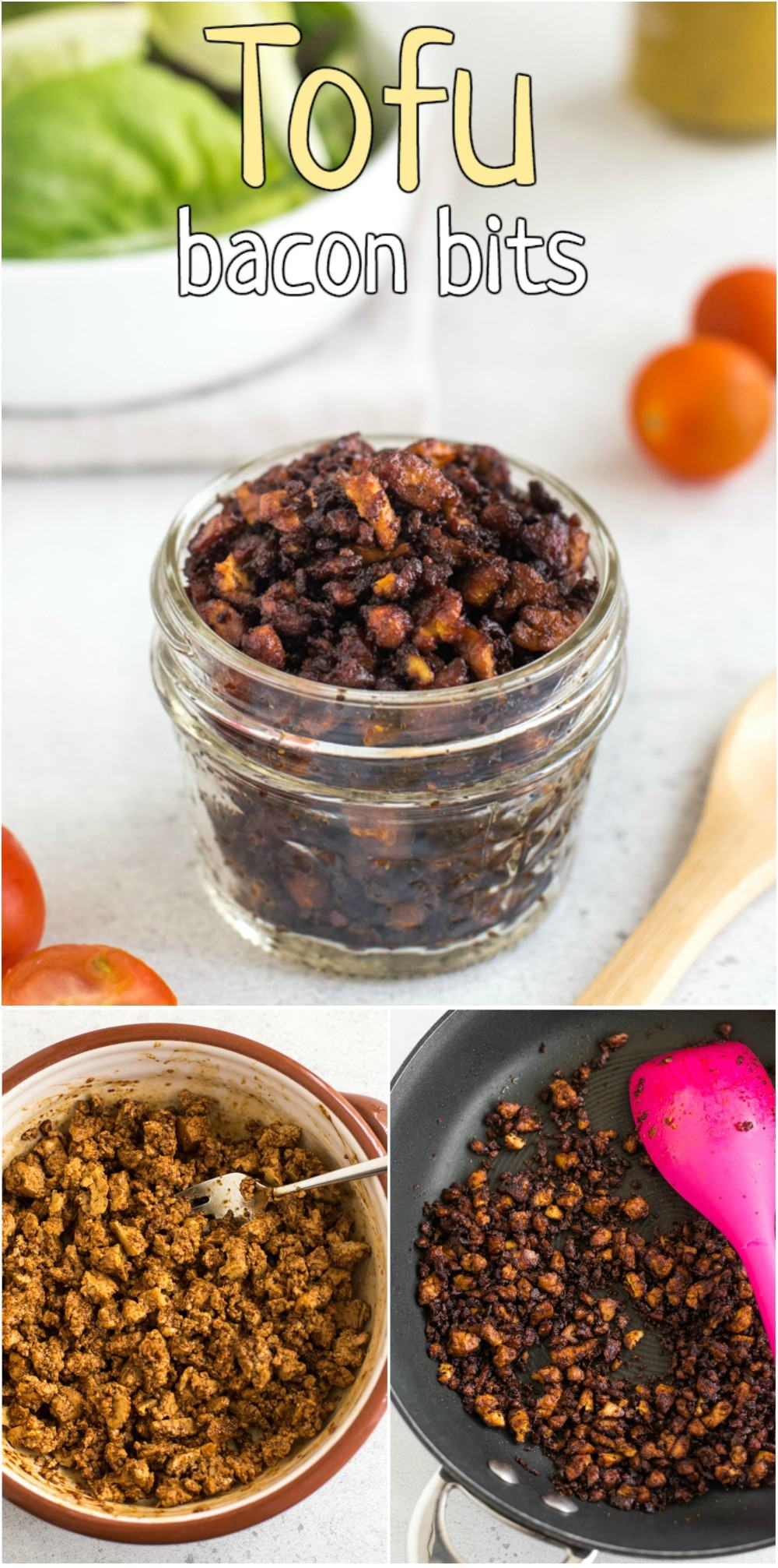Tofu bacon bits - homemade vegan bacon bits made with a sweet-salty-smoky-spicy marinade! Perfect for salads, soup, pasta, or just eaten by the handful! #tofubacon #veganbacon #vegetarianbacon #baconbits