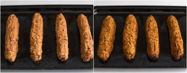 Comparison of vegan hot dogs on a baking tray before and after baking
