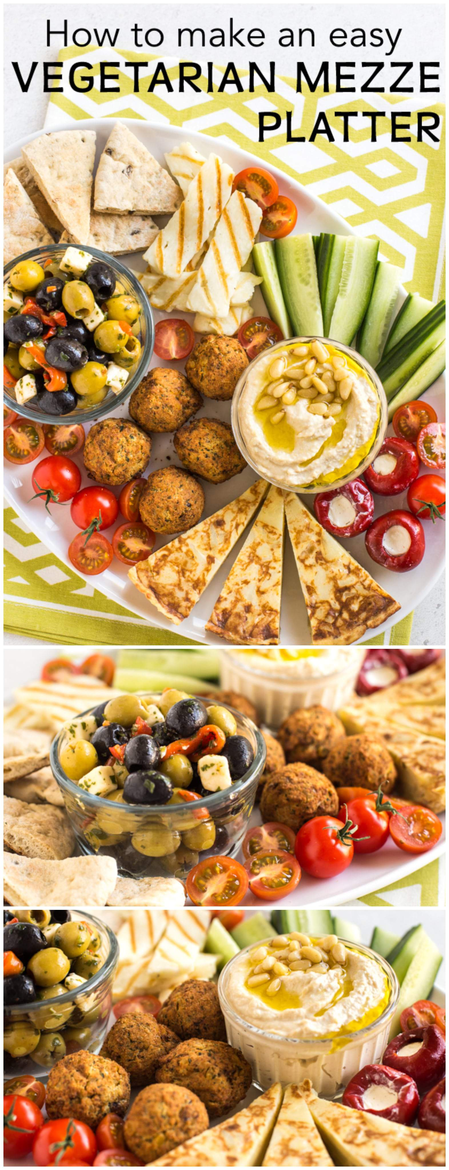 How to make an easy vegetarian mezze platter - with hummus, falafel, pitta bread, olives, and lots more! Such a great social dinner - serve it up with cocktails or sangria and let your friends dig in! #vegetarianmezze #mezzeplatter #falafel #hummus #dinnerparty #vegetariandinnerparty