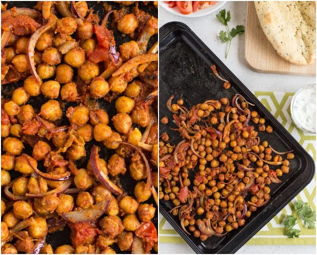 Collage of Indian roasted chickpeas on a baking tray