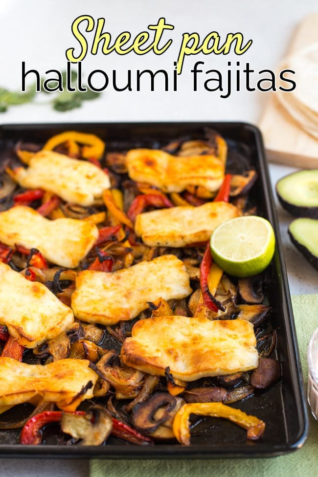 Halloumi and vegetables on a sheet pan with half a lime