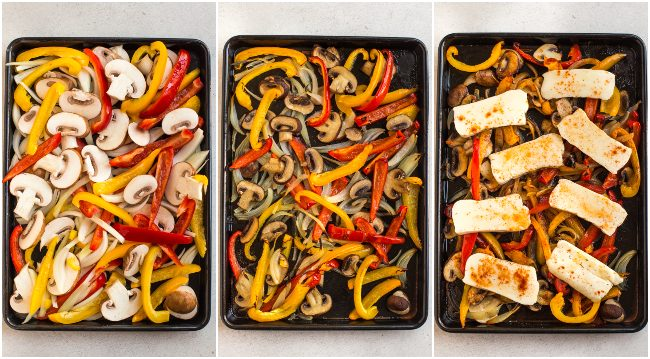 Collage showing roasted vegetables and halloumi on a sheet pan before, during and after cooking