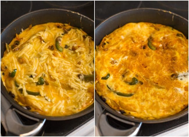 Collage showing cheesy taco frittata before and after cooking