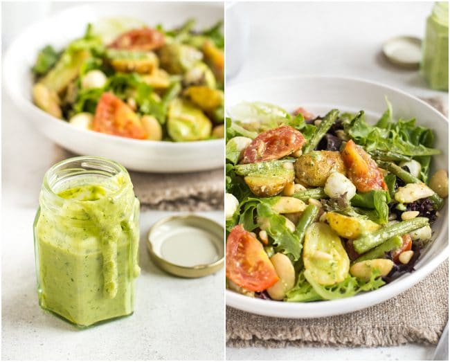 Collage showing creamy homemade pesto dressing and two bean and potato salad