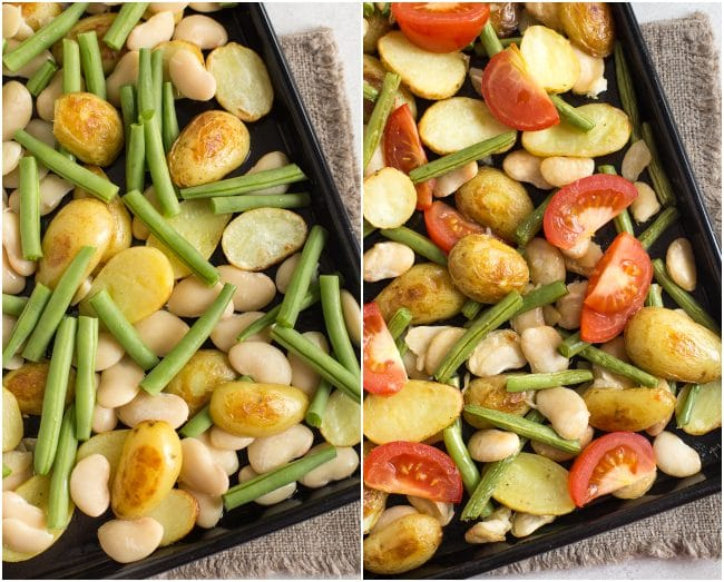 Collage showing butter beans, potatoes, green beans and tomatoes roasting on a baking tray