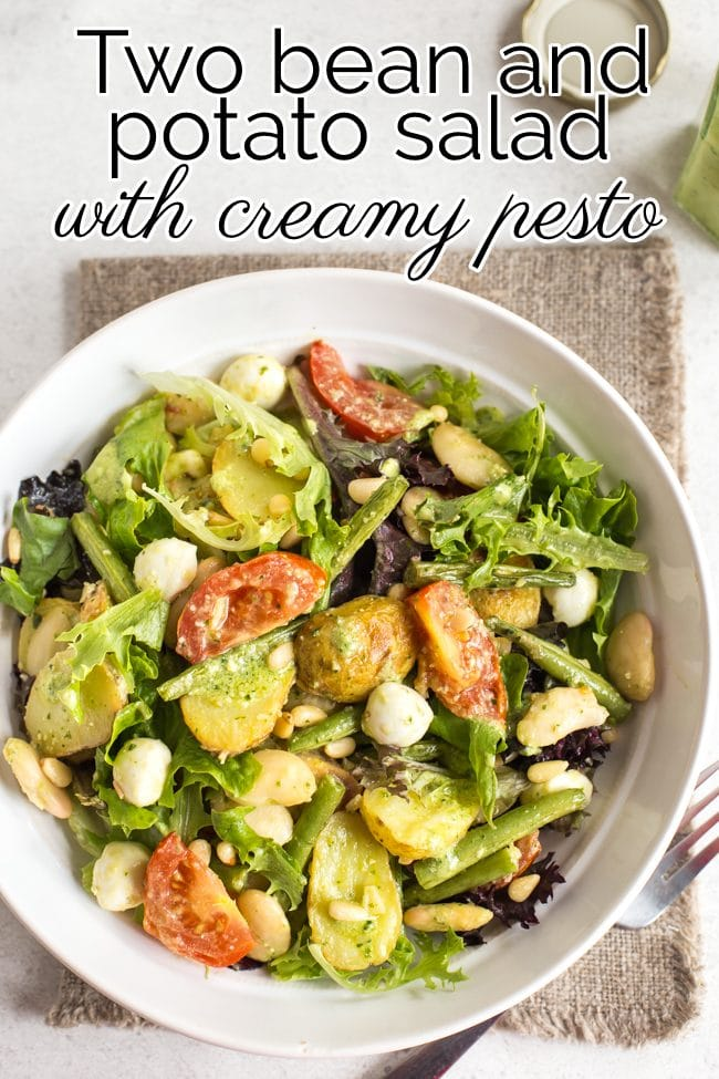 Potato and bean salad with lettuce in a bowl