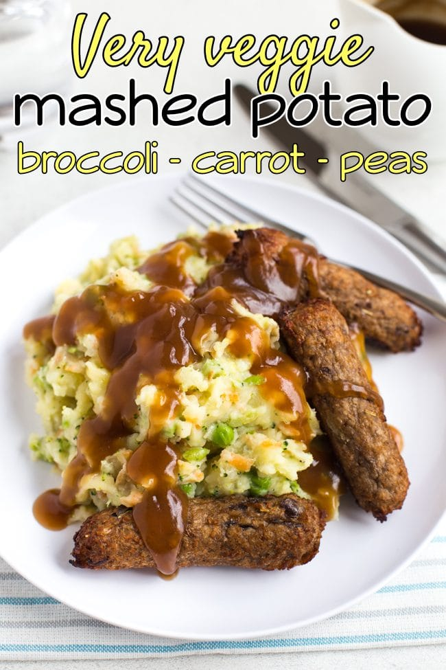 Vegetarian bangers and mash with gravy