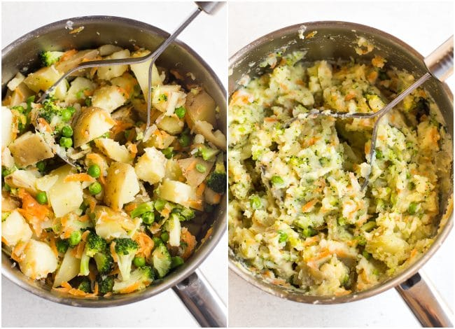 Collage showing very veggie mashed potato in a pan before and after mashing