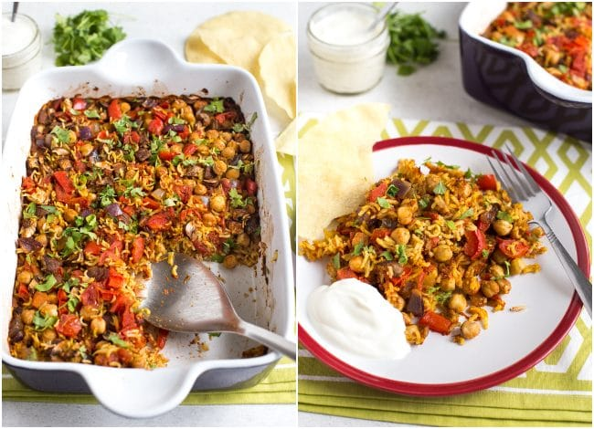 Collage showing chickpea curry and rice bake in the baking dish and on a plate with yogurt