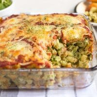 Creamy bean and spinach pasta bake