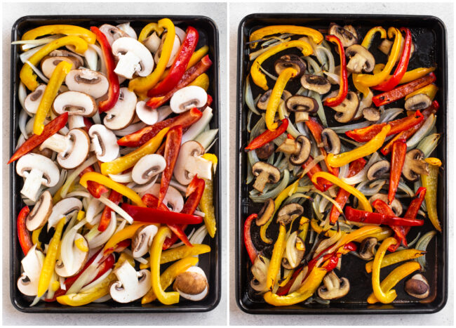 A collage showing fajita vegetables roasting on a tray.