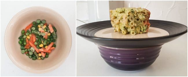 Collage showing how to heat up a portion of frozen food with veggies in the microwave