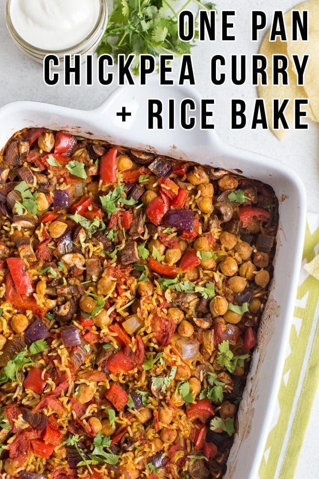 Chickpea curry and rice in a baking dish, shot from above