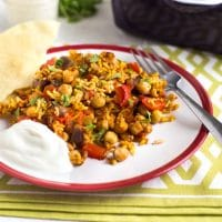 One pan chickpea curry and rice bake