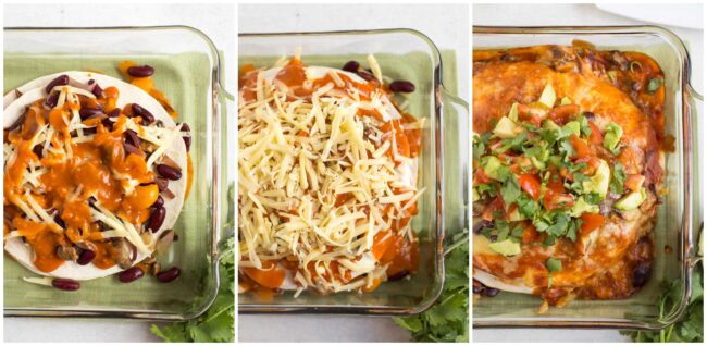Collage showing veggie enchilada stack being constructed