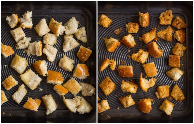Collage showing homemade croutons before and after baking
