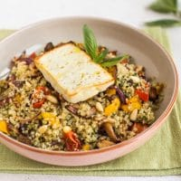 Roasted feta and quinoa bowls