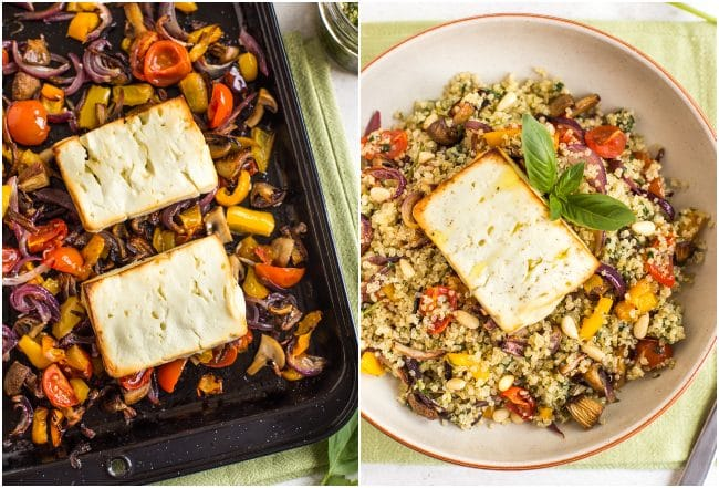 Collage showing roasted feta on a baking tray with roasted vegetables, and on top of vegetable quinoa