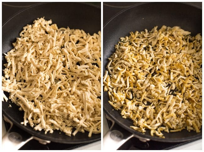 Collage showing grated tofu before and after cooking in a frying pan