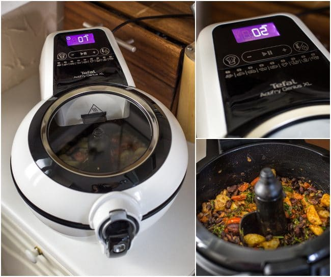 Collage showing Tefal ActiFry cooking a Madagascan bean stew