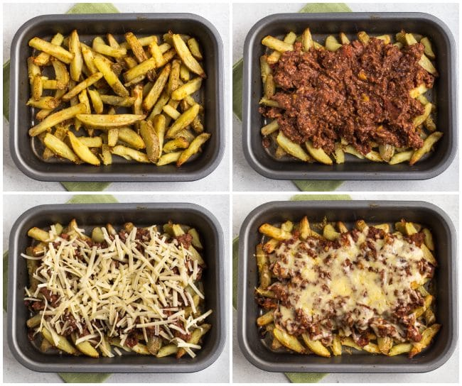 Collage showing vegetarian chilli cheese fries being constructed