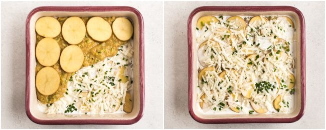 Collage showing lentil and potato gratin being layered up in a baking dish