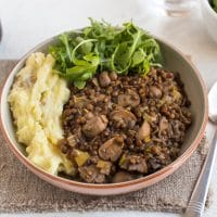 Lentil and mushroom stew with Branston pickle