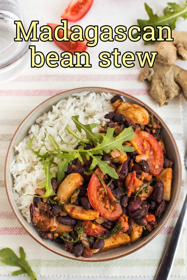 Madagascan bean stew in a bowl with rice