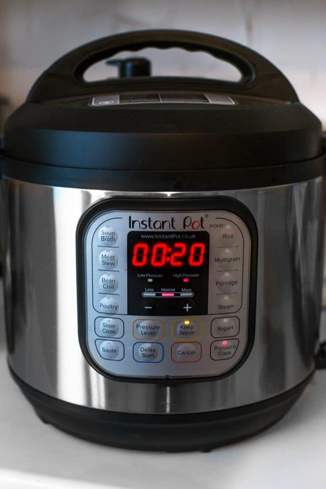 Instant Pot cooking for 20 minutes
