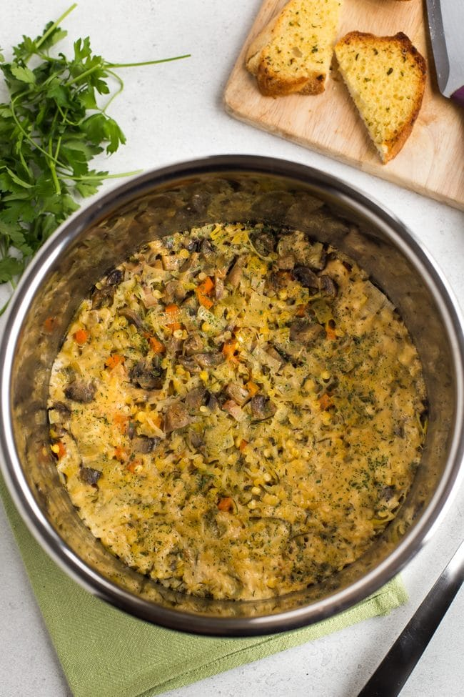 Cheesy very veggie lentil bake in the Instant Pot bowl