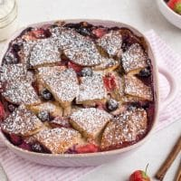 Strawberry and blueberry pancake pudding