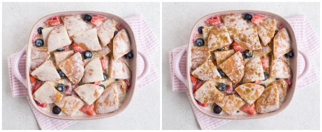 Collage showing pancake pudding with and without sugar topping