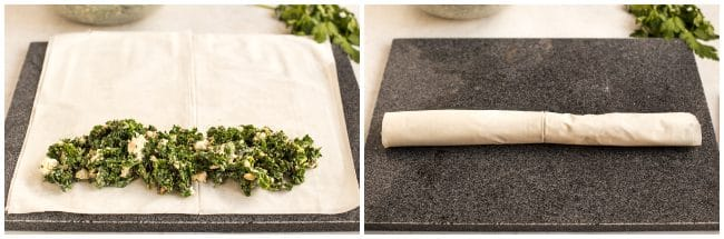 Collage showing sheets of filo pastry being rolled up with spanakopita filling