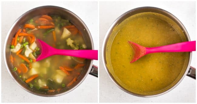 Collage showing vegan vegetable gravy before and after being blended