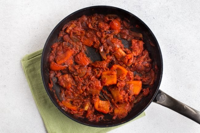 Thick and rich tomato sauce in a frying pan