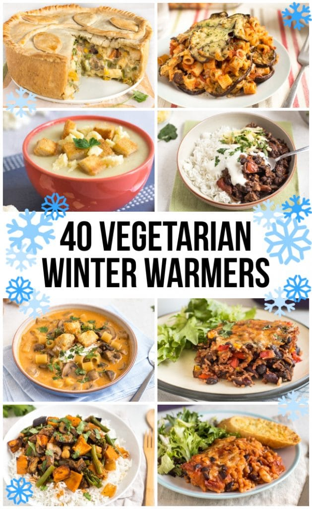 Collage showing 8 different vegetarian winter warmers