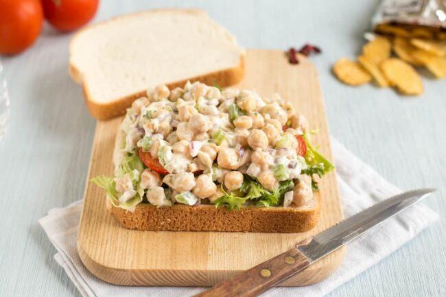 Creamy chickpea salad sandwiches.