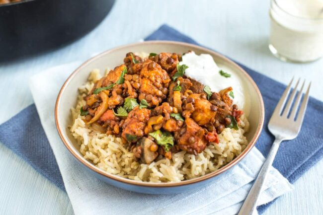 Easy lentil and halloumi curry