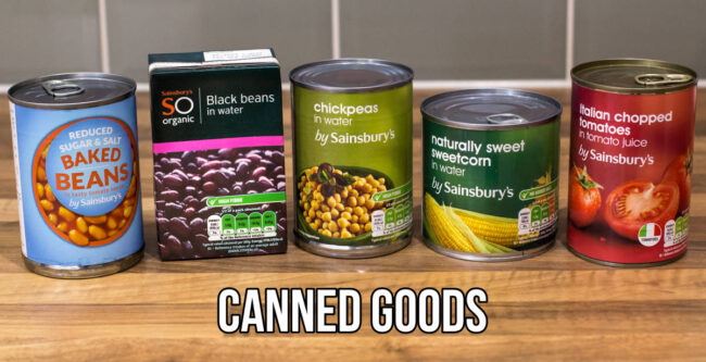 Selection of vegetarian canned goods