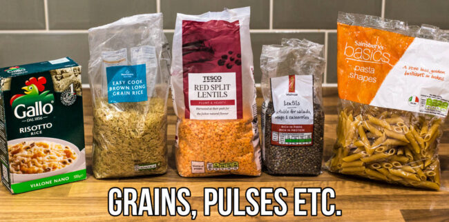 Selection of vegetarian grains and pulses