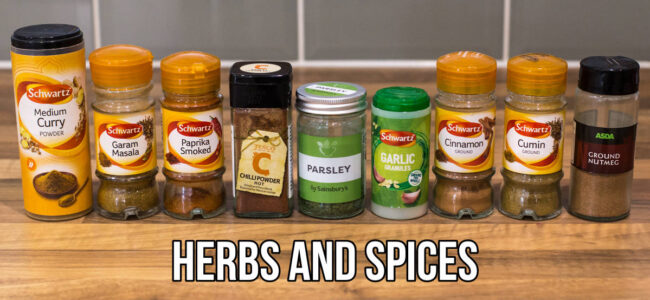 Selection of herbs and spices in jars
