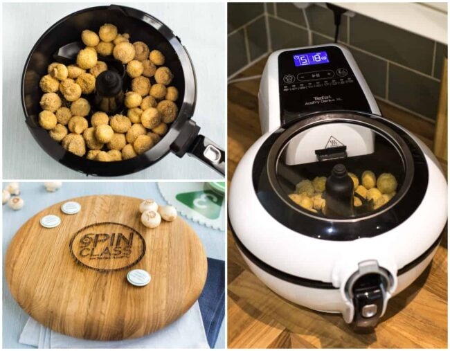 Collage showing crispy breaded mushrooms being cooked in an Actifry air fryer.