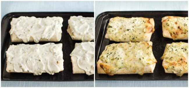 Vegetarian smothered burritos with sour cream sauce, before and after baking.