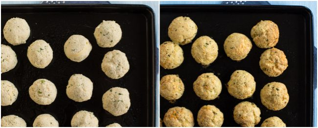 Cheesy tofu meatballs before and after baking