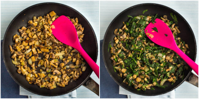 Collage showing mushrooms and spinach being cooked in a frying pan.
